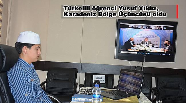 Türkelili öğrenci Yusuf Yıldız, Karadeniz Bölge Üçüncüsü oldu