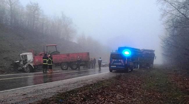Ayancık yolunda tırla kamyon çarpıştı : 1 yaralı