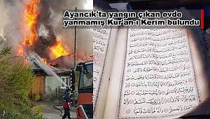 Ayancık'ta yangın çıkan evde yanmamış Kur'an-ı Kerim bulundu