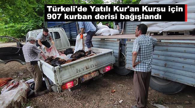 Türkeli'de Yatılı Kur'an Kursu için 907 kurban derisi bağışlandı